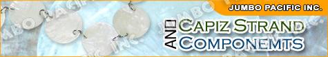 Capiz shell chips and capiz shell strands